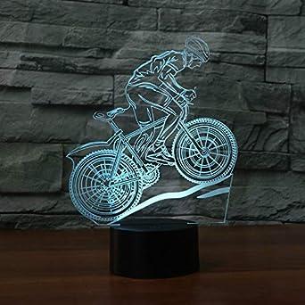 HNXDP Bicicleta Ejercicio 3d Lámpara 7 Color Ciclismo Led Lámparas ...