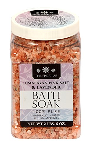 The Spice Lab 100% Himalayan Mountain Pink Sea Salt & Lavender Bath Soak - Detox Naturally Infused with 84 Minerals (2lb. 6oz. Plastic (Jug Salt)