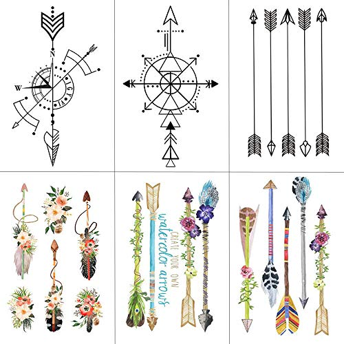 KAMRL Fake Tattoos Flower Arrow Temporary Tattoo Sticker Tattoos For Women Sexy Art Waterproof Men Hand Fake Tatoo 9.8X6Cm