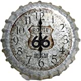Indoor Outdoor Wall Clock 14.2'' Route 66 Bottle Cap Patio Decoration Home Garden Decor