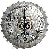 Indoor Outdoor Wall Clock 14.2'' Route 66 Bottle Cap Patio Decoration Home Garden Decor