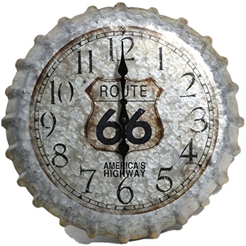Indoor Outdoor Wall Clock 14.2'' Route 66 Bottle Cap Patio Decoration Home Garden Decor by Taylor.