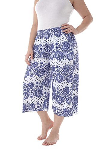 ZERDOCEAN Women's Plus Size Printed Stretchy Relaxed Lounge Capris with Pockets 109 1X