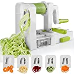 Spiralizer 5-Blade Vegetable Spiralizer,Sedhoom Foldable Spiral Slicer,Zucchini Noodle & Veggie Pasta & Spaghetti Maker for Low Carb/Paleo/Gluten-Free Meals 10 Great quality: Sedhoom zucchini spaghetti maker is made of high quality food-grade materials, dishwasher safe. No hazard to your health. Convenient to use: Simply put one hand on the push handle of spiralizer vegetable slicer and lightly push the crank handle forward while spiralizing. High efficiency: The blades for zucchini spaghetti maker are extremely sharp and made of heat-treated stainless steel. You can easily get 5 different shapes of food by 5 blade-combinations, such as zoodle, pasta, spaghetti, etc.
