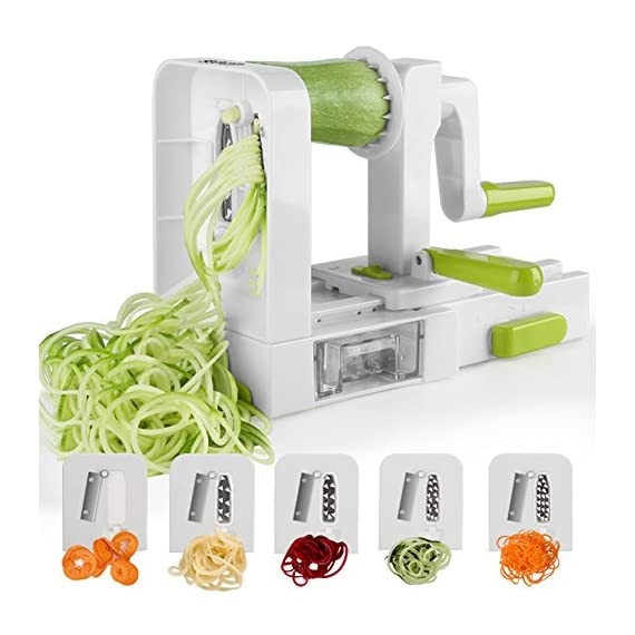 Spiralizer 5-Blade Vegetable Spiralizer,Sedhoom Foldable Spiral Slicer,Zucchini Noodle & Veggie Pasta & Spaghetti Maker for Low Carb/Paleo/Gluten-Free Meals 1 Great quality: Sedhoom zucchini spaghetti maker is made of high quality food-grade materials, dishwasher safe. No hazard to your health. Convenient to use: Simply put one hand on the push handle of spiralizer vegetable slicer and lightly push the crank handle forward while spiralizing. High efficiency: The blades for zucchini spaghetti maker are extremely sharp and made of heat-treated stainless steel. You can easily get 5 different shapes of food by 5 blade-combinations, such as zoodle, pasta, spaghetti, etc.
