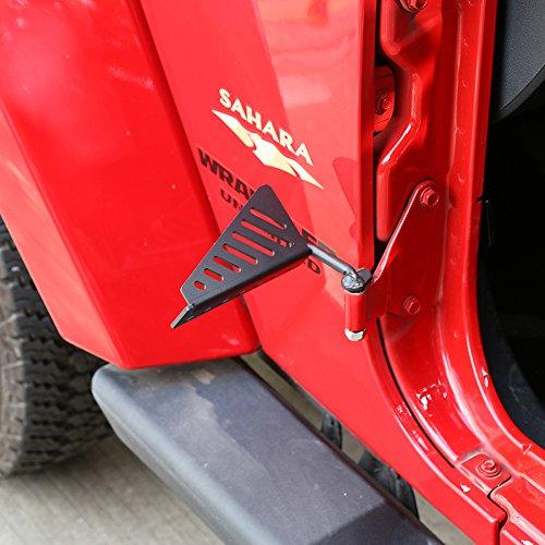 RT-TCZ Black Exterior Door Hinge Front Foot Peg Rest Pedal for 2007-2017 Jeep Wrangler JK (Streak)