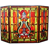 Tiffany Style Stained Glass Victorian Fireplace Screen Home Kitchen