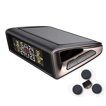 Medidor Digital De Presión Para Neumáticos Solar Detector De Presión De Neumáticos Inalámbrico Pantalla LCD En Color Con 4 Sensores Externos Alarma ...
