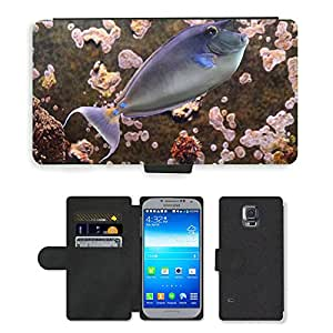 PU LEATHER case coque housse smartphone Flip bag Cover protection // M00110137 Rhino Pez Pez Nariz Fish Doctor Fish // Samsung Galaxy S5 S V SV i9600 (Not Fits S5 ACTIVE)