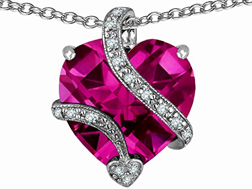 Star K Large 15mm Heart Shaped Created Pink Sapphire Love Pendant Necklace Sterling Silver