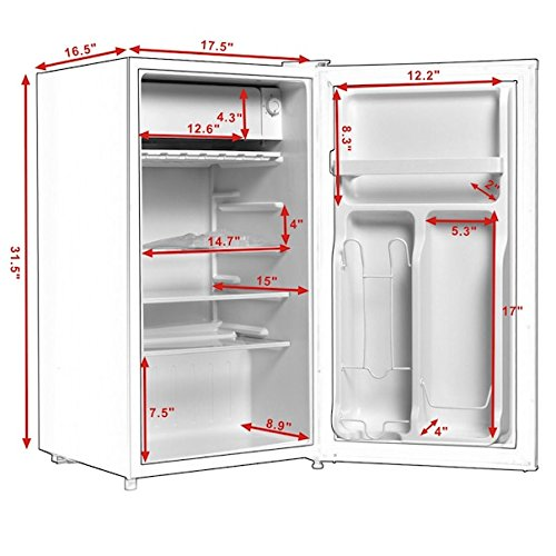 3.2 Cu. Ft. White Compact Single Door Refrigerator Fridge With Small Internal Freezer Cooler Reversible Door Perfect For Dorm Wet Bars Apartment Condo Office Hotel Adjustable Glass Shelf