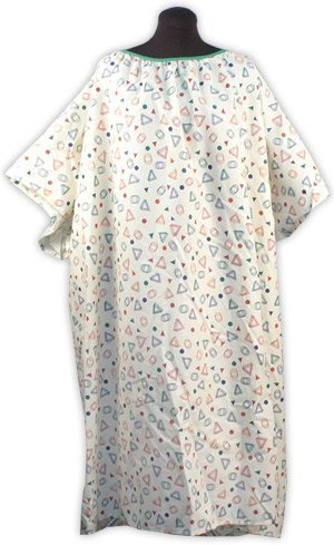Plus Size Hospital Gown 3X - Geo Print Beige