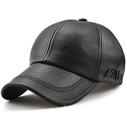 Black Leather Hat Classic (Classic Plain Adjustable Leather Baseball Cap Sports Outdoor Panel Hat for Men Women Black-1)