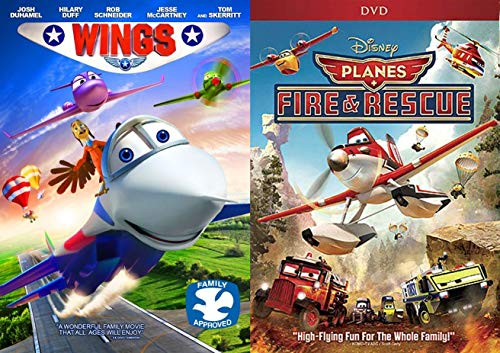 World of Wings & Planes High Flying Fun Disney Cartoon Movie Planes Fire & Rescue DVD Animated Feature + Wings Soaring Set Hilary Duff Family Bundle]()