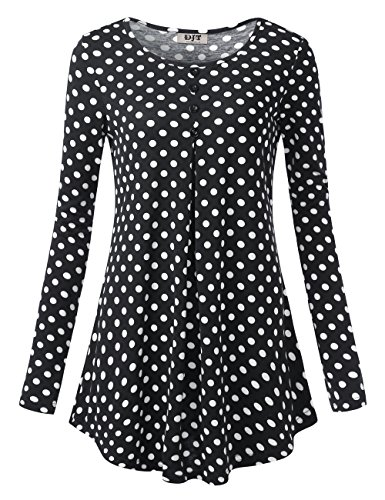 DJT Long Sleeve Tunic for Women, Women's Long Sleeve Crewneck Pleated Floral Shirts Flared Casual Tunic Tops Black Polka Dots M (Dot Print Tunic Top)