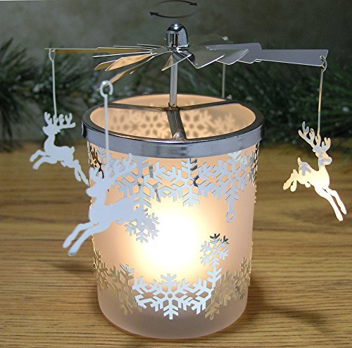 Frosted Glass Reindeer Spinning Candle Holder