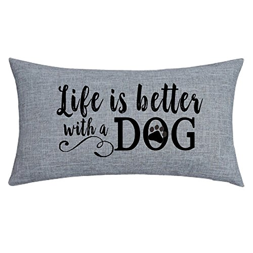 NIDITW Nice Gift with Inspirational Words Life is Better with A Dog Waist Lumbar Throw Pillow case Cushion Cover Pillowcase for Sofa Home Decorative Rectangle 12