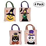 Trick or Treat Bag Halloween Tote Bag Pumpkin Candy Bags Trick or Treat Goody Bag for Children Halloween Themed Party 4 Pack