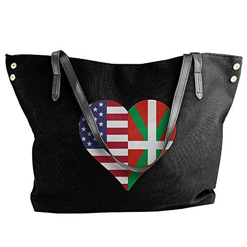 (SW98Q98 Half Basque Flag Half USA Flag Love Heart Women's Leisure Canvas Shoulder Bag for Travel Work Bag)