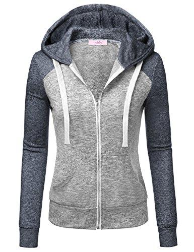 sual Hoodies, Full Zip Hooded Sweatshirt Color Block Knitting Coats With Kangaroo Pocket M Navy (Ladie Full Zip Hoody)
