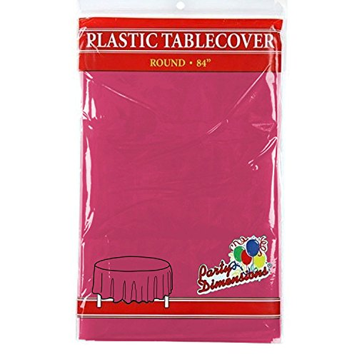 Table Hot Pink Plastic - Hot Pink Round Plastic Tablecloth - 4 Pack - Premium Quality Disposable Party Table Covers for Parties and Events - 84