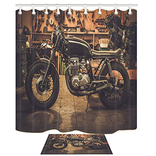 JAWO Vintage Motorcycle Shower Curtain for Bathroom, Repair Shop Retro Art Hippie 69X70in Shower Curtains Polyester Shower Curtain Set with 15.7x23.6in Flannel Non-Slip Floor Doormat Bath Rugs