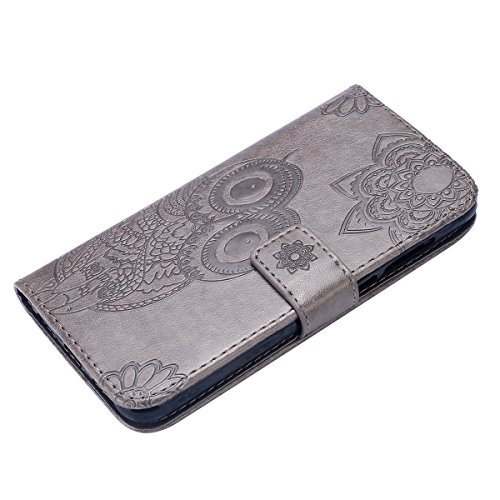Lær Tilfellet Huawei Håndrem Stativ Euwly Huawei Ugle Deksel Lommebok Tilfelle Flip Bookstyle Lite 2017 Magnetisk Tilfellet S P8 Grå Pu Snor Pregede Lås Med Xq4w8qP6