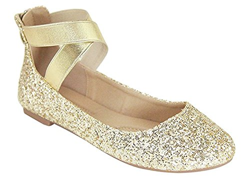 ANNA Dana-20 Women's Classic Ballerina Flats with Elastic Crossing Straps (11 B(M) US, Gold Glitter) from ANNA