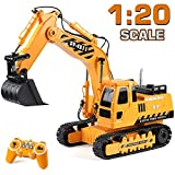 DOUBLE  E Remote Control Excavator Toys Fully Functional Construction Tractor, Rechargeable Rc Excavator 1:20 RC Excavator Truck with Lights & Sounds 2.4Ghz Transmitter, White
