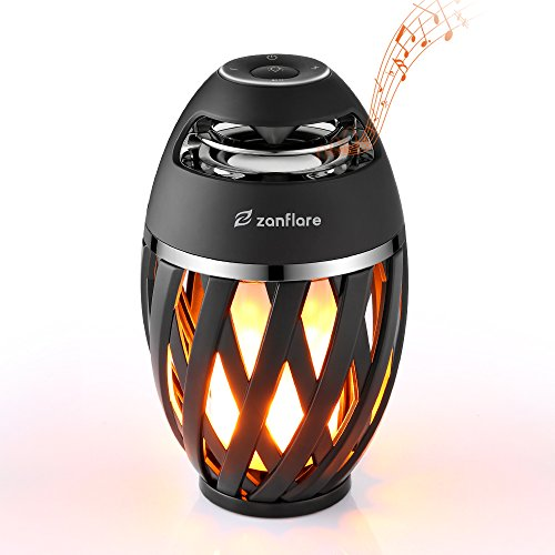 Zanflare LED Flame Table Lamp, Torch Atmosphere Bluetooth Speakers, Outdoor Portable Stereo Speaker with HD Audio and Enhanced Bass, LED Flickers Warm Yellow Lights for Decoration
