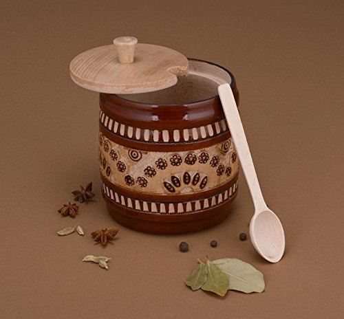 Handmade Decorative Wooden Sugar Bowl with Lid and Spoon Kitchen Decor Ideas