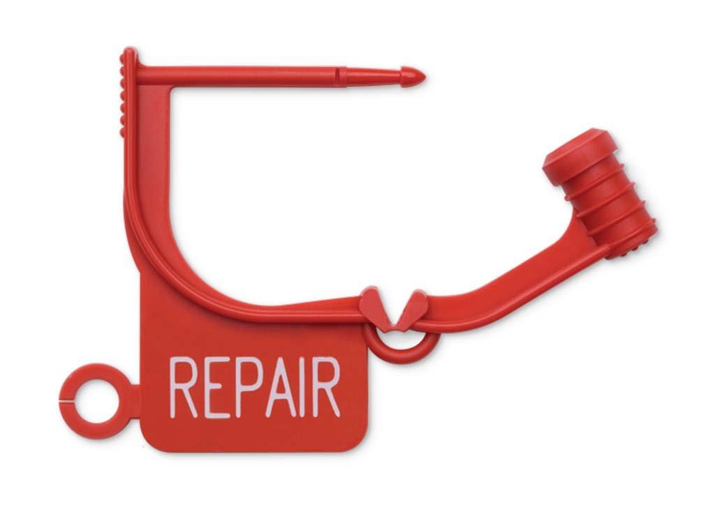 Key Surgical LT-450 Locking Tag, ''REPAIR'', Red (Pack of 100)