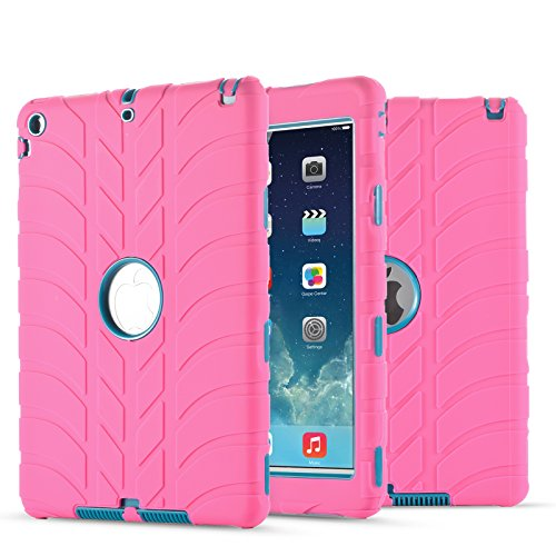 (New iPad 9.7 Inch 2018/2017 Case, UZER Tire Pattern Shockproof Anti-Slip Silicone High Impact Resistant Hybrid Three Layer Hard PC+Silicone Armor Protective Case Cover for New iPad 9.7 inch)