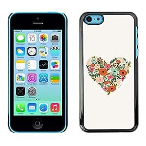 TopCaseStore / la caja del caucho duro de la cubierta de protección de la piel - Heart Floral Birds Spring Nature Beige - Apple iPhone 5C