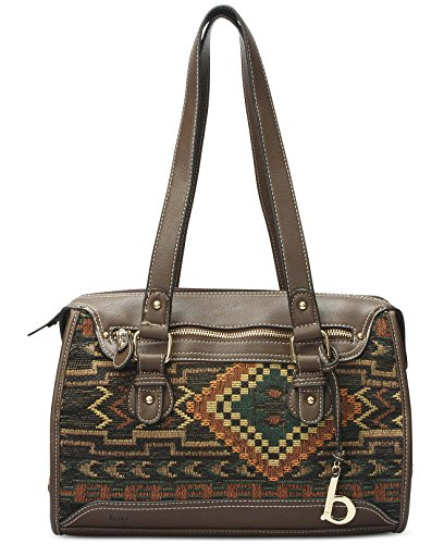 Born b.o.c Women's Limington Brown Vinyl and Fabric Top Handle Satchel Bag by Born