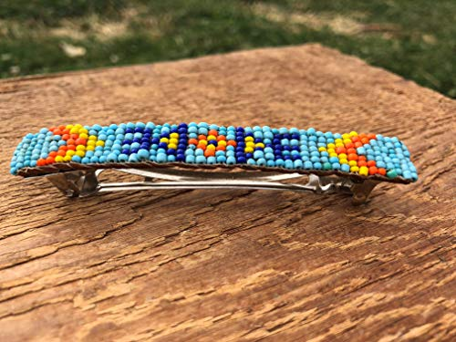 (Blue Beadwork Large Barrette Made In Idaho )