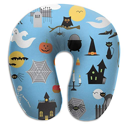 Pamdart Halloween Clipart Vector Image Customized U-Shaped Pillow Neck Pad Cushion Unisex Suitable for Office Rest Aircraft Travel -