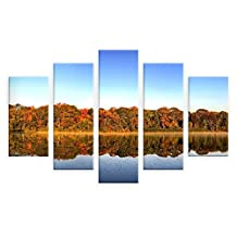 "Alonline Art - Nature In The Fall Split 5 Panels VINYL STICKER DECAL 33""x22"" - 84x56cm 5 Panels Combination Wall Art Stickers Adhesive Vinyl Decal For Living Room For Bedroom Vinyl Wall Decal"
