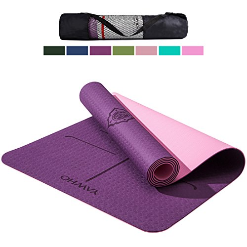 "YAWHO Yoga Mat Eco Friendly Material SGS Certified Ingredients TPE Specifications 72"" x 24"" Thickness 1/4-Inch Non-Slip Extra Large Yoga Mat with Carry Strap and Carry Bag (Violet)"