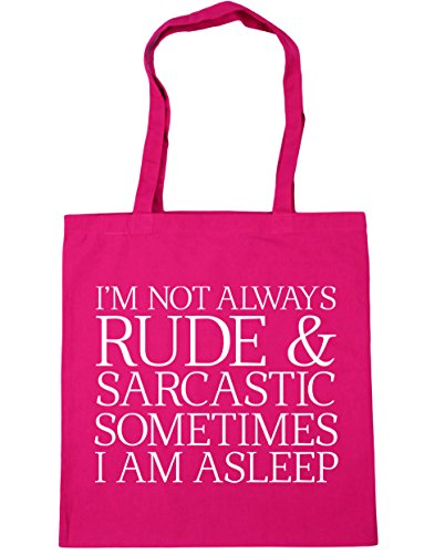 Am HippoWarehouse Bag Asleep Not 10 I litres Shopping Beach Rude Always Sarcastic And I'M Tote 42cm Fuchsia x38cm Sometimes Gym pwfpq8g6
