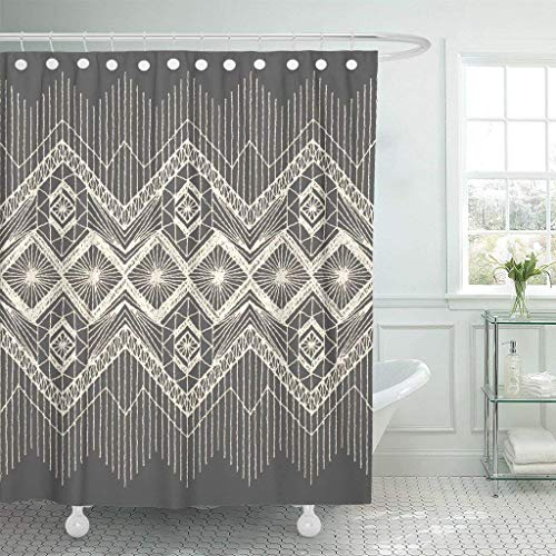 (Abaysto Brocade Floral with Fringe Border Knitted Woven Macrame in Boho Style Silk Linen Polyester Fabric Shower Curtain Sets with Hooks Waterproof Mildew Bathroom Decor)