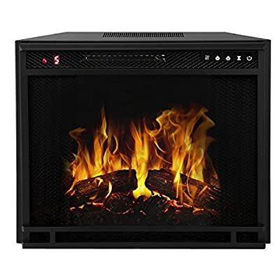 "Moda Flame 33"" LED Ventless Electric Space Heater Built-in Recessed Firebox Fireplace Insert"
