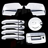 A-PADS Chrome Covers Combo Set For Chevy SILVERADO 2500/3500 + HD 2014 - 2 Full Mirrors + 4 Door Handles WITH Passenger Keyhole + 1 Gas Door + 1 Tailgate WITH Keyhole