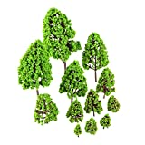 "12Pcs 0.98""-6.3"" Green Landscape Model Tree Scale 1/50 Park Diorama Scenery O HO N Z"