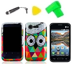 Phone Case Cover Cell Phone Accessory + Extreme Band + Stylus Pen + Lcd Screen Protector + Yellow Pry Tool For Straight Talk Lg Optimus Fuel L34C (Cute Owl)