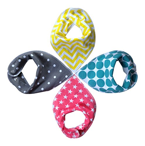 Baby Sonny Bandana Drool Bibs (4 Pack) Super Absorbent so Perfect for Teething,Fashionable Prints,Cute Gift.
