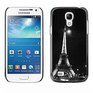 Paccase / SLIM PC / Aliminium Casa Carcasa Funda Case Cover - Architecture Moonlight Black & White Eiffel - Samsung Galaxy S4 Mini i9190 MINI VERSION!