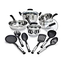 14 Piece Stainless Steel Nonstick Cookware Piece Set Pots Pans Kitchen Cooking