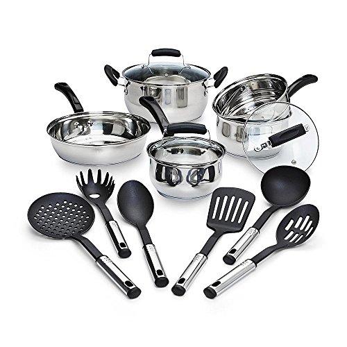 14 Piece Stainless Steel Nonstick Cookware Piece Set Pots Pans Kitchen Cooking
