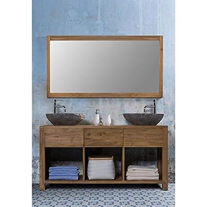 Mueble para cuarto de baño de madera de teca, 1 mesa, 2 lavabos 145 ...
